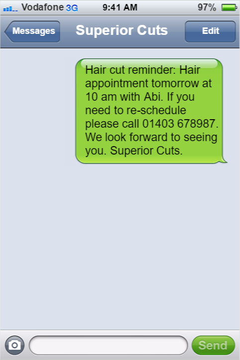 Reminder SMS Example